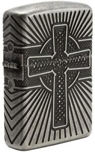 Zippo Windproof Armor Celtic Cross Lighter, All Sides Engraved, 29667 New In Box