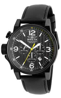 Invicta I-Force 20140 Men's Round Black Left Hand Chronograph Date Leather Watch
