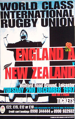 """England A v NZ at Leicester 1997 RUGBY POSTER A2, 59.4cm x 42cm = 23.4"""" x 16.5"""""""