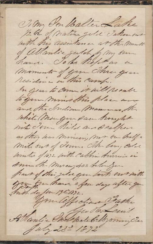 1872 - Wyoming Gold Mining Massacre Letter