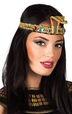 Ladies Queen Cleopatra Egyptian Pharaoh Asp Hairband Fancy Dress Costume Outfit