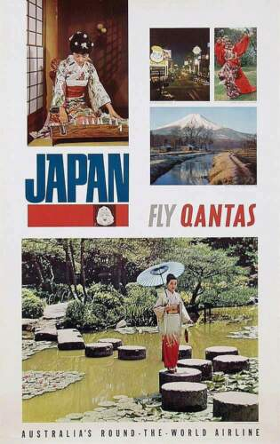 QANTAS AIRLINES JAPAN Vintage 1965 Travel poster KYOTO MOUNT FUJI 25x40 NM
