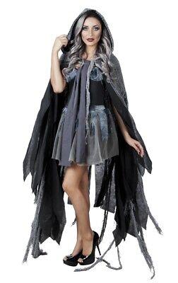 Vampir-Umhang schwarz-grau mit Kapuze Halloween-Kostüm Hexe Geist Mantel Cape