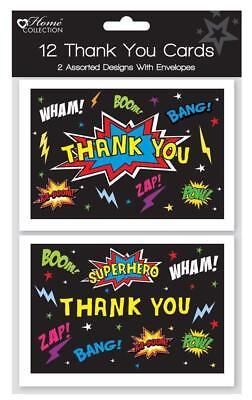 Superhero Children's Thank You Cards & Envelopes - Black Superhero Pack of 12](Superhero Thank You Cards)