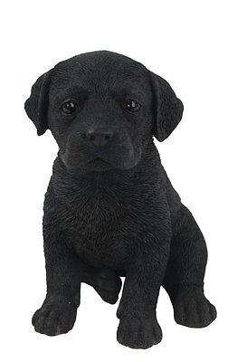 (Sitting BLACK LABRADOR Puppy Dog - Life Like Figurine Statue Home / Garden NEW)