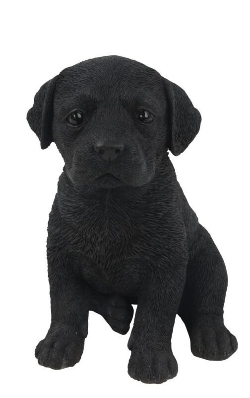 Sitting BLACK LABRADOR Puppy Dog - Life Like Figurine Statue Home / Garden NEW