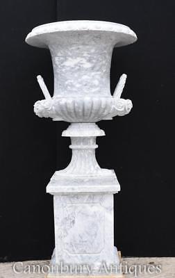 Pair XL Italian Marble Campana Urns Garden Vase