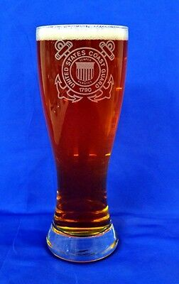 Guard Emblem - US Coast Guard emblem custom etched on 23oz pilsner set of 4