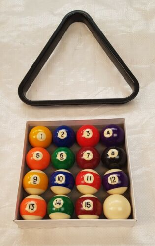 """1 7/8"""" 47.5mm Spots & stripes Pool table Balls.Limited quantity with triangle"""