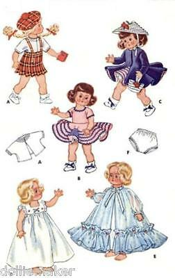 """GINNY DOLL VTG CLOTHES PATTERN  FITS 8"""" DOLLS DRESS PEIGNOIR COAT HAT AND MORE"""