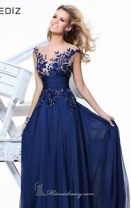 New Long Blue Applique Evening Formal Prom Party Cocktail Dresses Wedding Gown