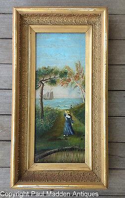 Antique Folk Art Painting - Sailor's Farewell