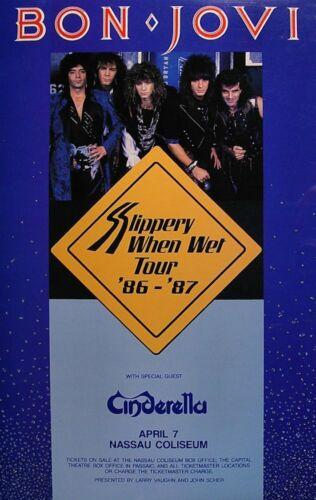 BON JOVI / CINDERELLA 1987 SLIPPERY WHEN WET TOUR NASSAU COLISEUM POSTER