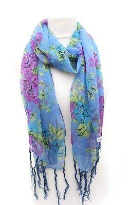 Damen Tuch Schal Halstuch Stola, 100% Polyester, grosse Blüten, blau/lila/grün