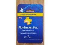 Playstation Plus 12 Month Membership Card - NEW & SEALED - PS+ 1 Year Subscription Code Sony PSN UK