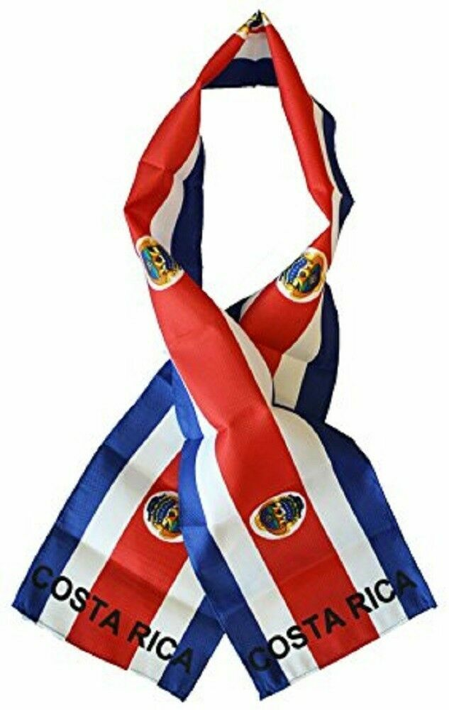 """Costa Rica Country Lightweight Flag Printed Knitted Style Scarf 8""""x60"""""""