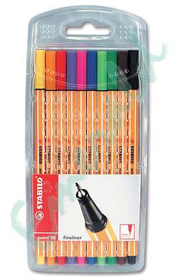 Stabilo Point 88 Fineliner Colouring Pens Wallet Pack Set 10 Colours 0.4mm Tip