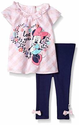 Disney Baby Girls' Minnie Pink Tunic 2pc Legging Set Size 12M 18M 24M