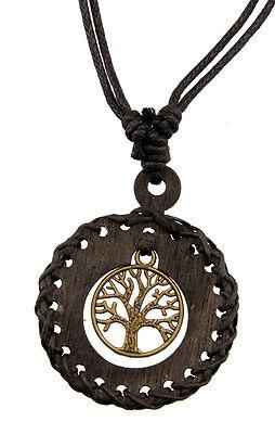 Halskette Baum von Leben Celtic Schwarz Holz . Schmuckstück Ethnisch Billig -