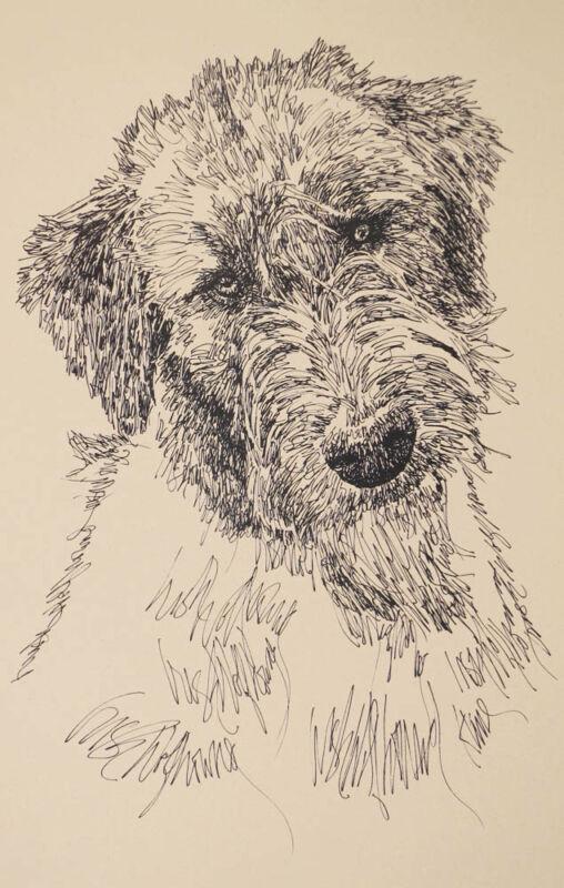 Irish Wolfhound Dog Art Portrait Print #34 Kline adds dog name free WORD DRAWING