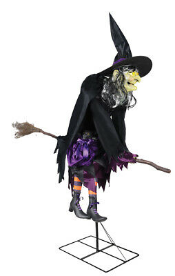 Animated Flying Witch (Halloween Animated FLYING WITCH FANCY SEATED ON HER BROOM Prop Haunted)