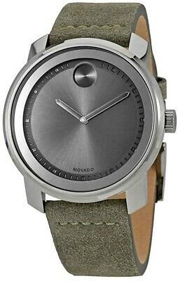 MOVADO BOLD - Men's Gunmetal Olive-Green Suede Leather Watch - 3600448