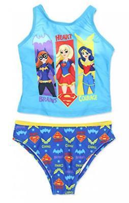 Super Hero Females (DC Super Hero Girls Two Piece Tankini Swimsuit Size 4 5/6)