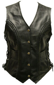 LADIES-REAL-LEATHER-LACED-MOTORCYCLE-Biker-WAISTCOAT-LACES-WOMENS-Vest-Gilet