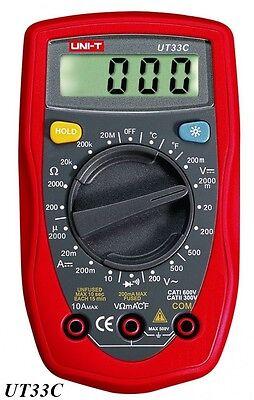 UNI-T UT33C Digital Multimeter AC DC Ohm Temperatur Kapazität  inkl. Batterie