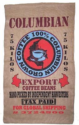 COLOMBIAN COFFE BEAN BURLAP BAG #26 feed bags gunny sack novelty WALL decor SAC