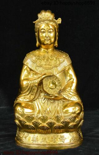 Folk China Brass Buddhism 8 Diagrams Symbol Unborn Mother Kwan-Yin Buddha Statue