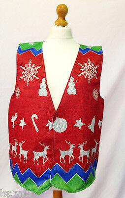 Frohe Weihnachten Weste rot Schneeflocken Schneemann Kostüm Neuheit Geschenkidee