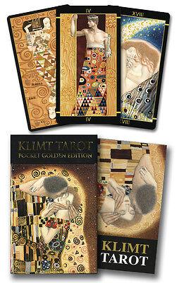 Golden Tarot of Klimt Mini Deck - Gold Foiled - 78 Cards & Instruction Booklet