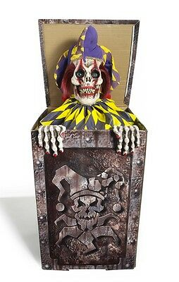 Zombie Jester in the Box Animated Halloween Prop, CRAZY CIRCUS CLOWN