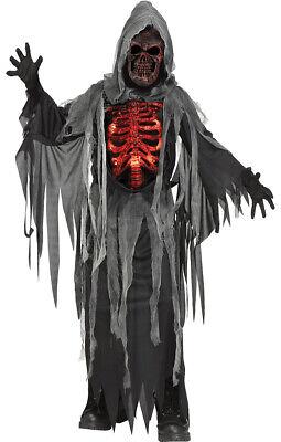 Glühender Sensenmann Kostüm für Kinder - Halloweenkostüm leuchtend Dämon - Halloween Leuchtende Kostüm