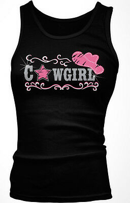 Cowgirl Pink Cowboy Hat Country Rhinestone Sparkle Star Shiny Am Girls Tank Top (Girls Pink Cowgirl Hat)
