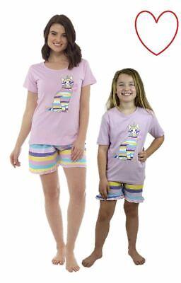 Girls Pyjamas Cat Nightwear Matching Adult Child Sleepwear -