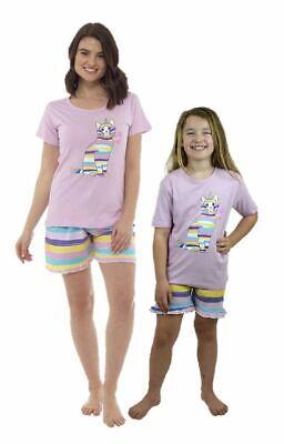 Ladies Girls Cat Pyjamas Nightwear Matching Adult Child Sleepwear -