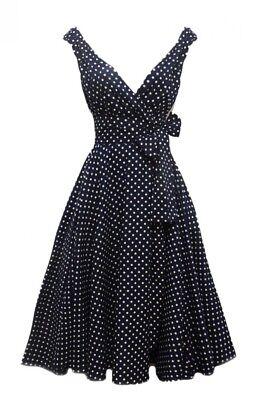 50er Jahre Rockabilly-Kleid Dolly Schwarz Vintage Retro Polka Dots Petticoat ()