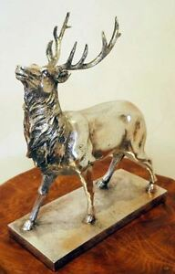 NEW - Silver Stag / Deer With Antlers Figurine Sculpture Ornament On Base