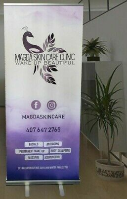 Retractable Roll Up Banner Stand Display 33 X 79