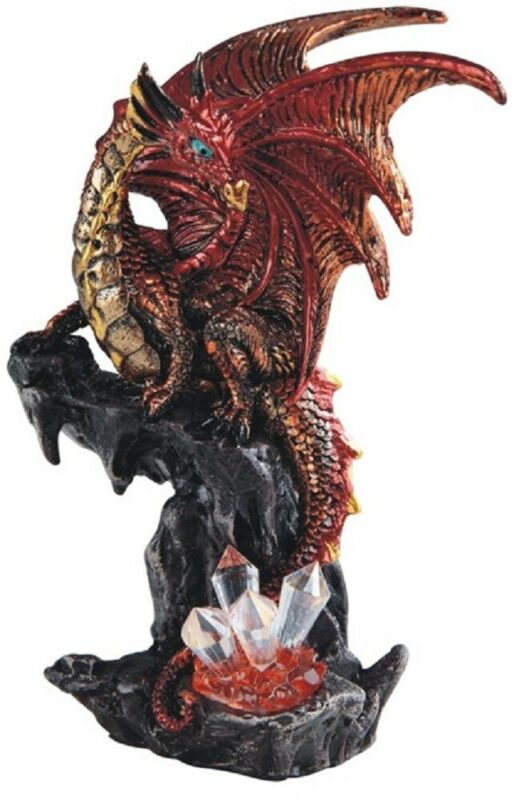 Red Dragon on Stone with Crystals Medieval Fantasy Figurine Statue Decoration