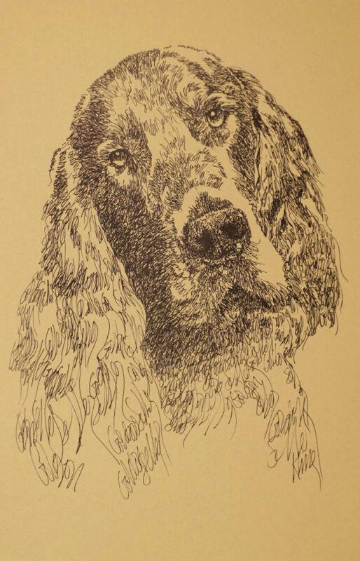 GORDON SETTER DOG ART PRINT #45 Kline Magic Drawing YOUR DOGS NAME ADDED FREE