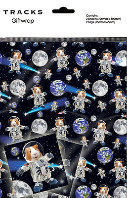 Guinea Pig Spaceman Novelty Gift Wrap Wrapping Paper Birthday 2 Sheets Tags -