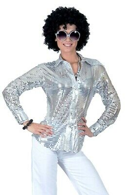 70's Sequin Blouse Ladies Silver Disco Heat Sequin Costume Top - 70s Disco Fashion