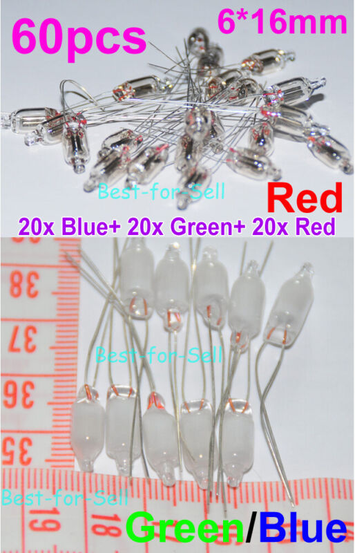 60pcs 6X16mm RED + Green + Blue Mix Neon Bulb Indicator 6mm Glow Lamp Neon-Light