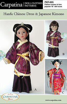 Hanfu Chinese Dress & Japanese Kimono American Girl & Carpatina 18 Dolls Pattern
