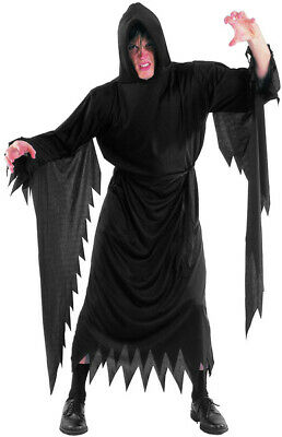 SCREAM DEMON Ghost Vampire Hooded Cape Robe Halloween Fancy Dress Costume