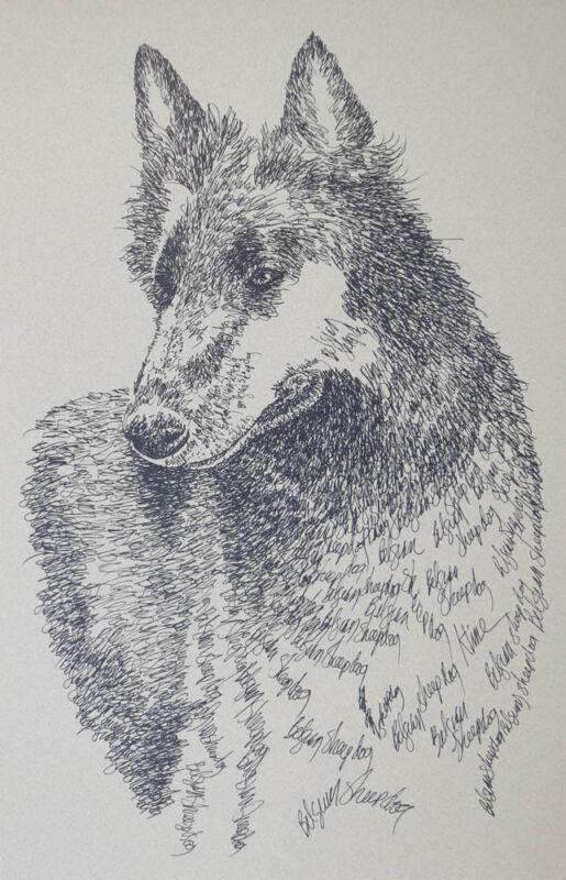 Belgian Sheepdog Art Portrait Print 40 Kline adds dog name free DRAWN FROM WORDS