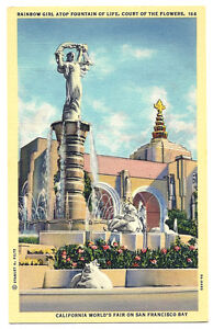Postcard 1939 San Francisco California World's Fair Rainbow Girl Fountain Court